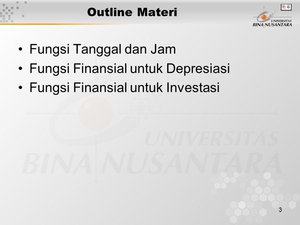 3 Outline Materi Fungsi Tanggal dan Jam Fungsi Finansial untuk Depresiasi Fungsi Finansial untuk Investasi