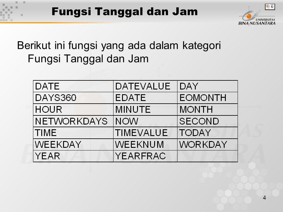 4 Fungsi Tanggal dan Jam Berikut ini fungsi yang ada dalam kategori Fungsi Tanggal dan Jam