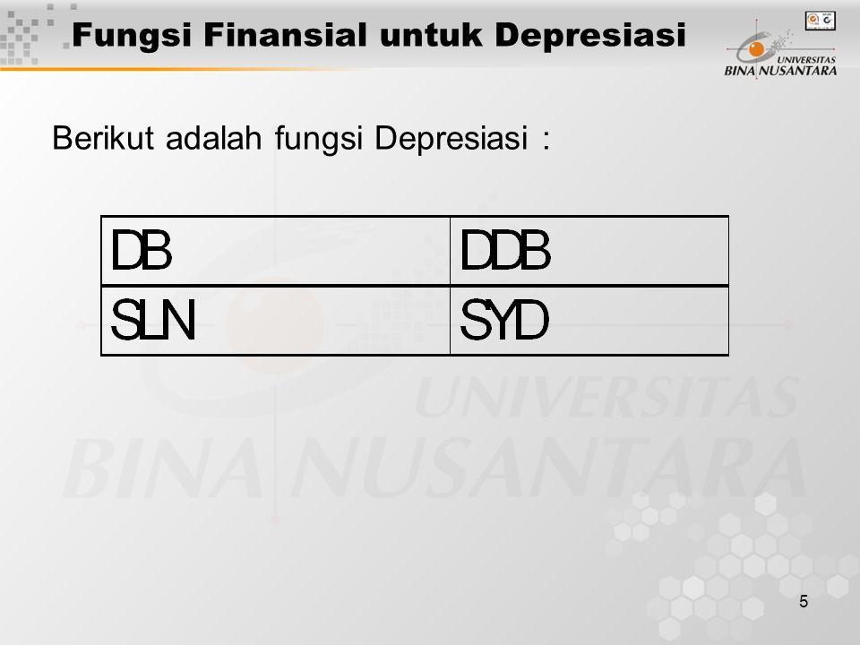 5 Fungsi Finansial untuk Depresiasi Berikut adalah fungsi Depresiasi :