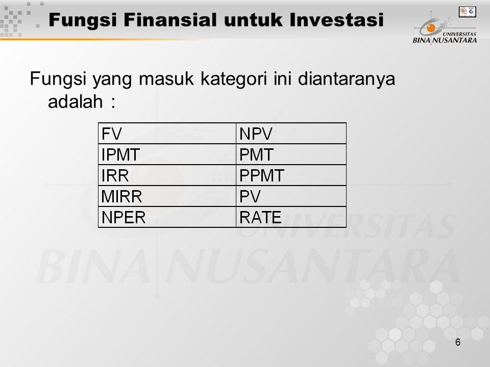 6 Fungsi Finansial untuk Investasi Fungsi yang masuk kategori ini diantaranya adalah :