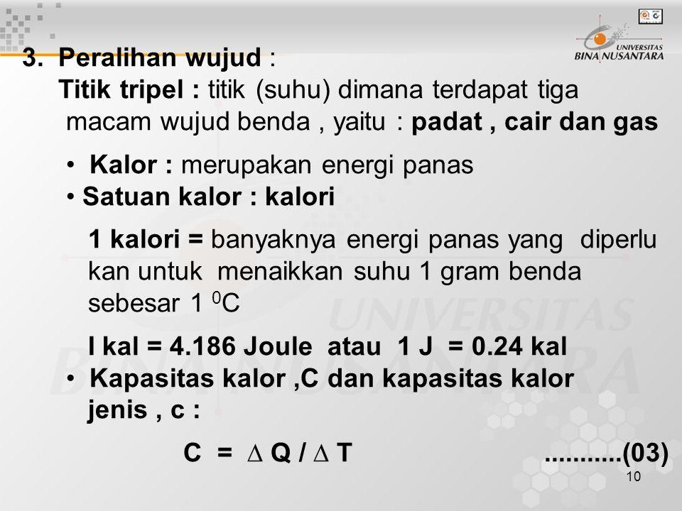10 3. Peralihan wujud : Titik tripel : titik (suhu) dimana terdapat tiga macam wujud benda, yaitu : padat, cair dan gas Kalor : merupakan energi panas