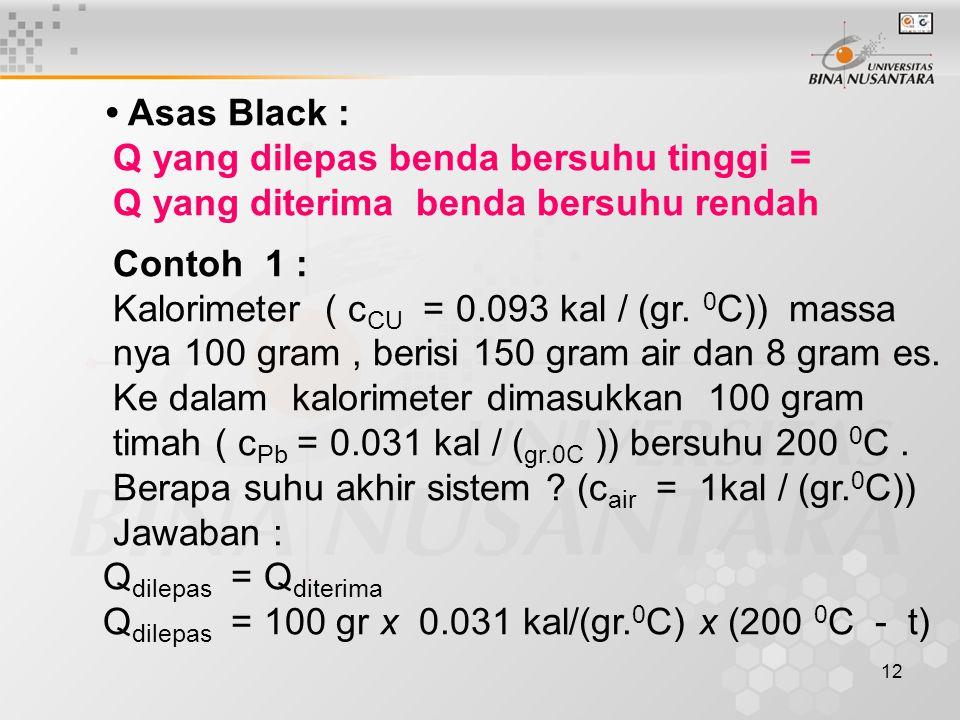 12 Asas Black : Q yang dilepas benda bersuhu tinggi = Q yang diterima benda bersuhu rendah Contoh 1 : Kalorimeter ( c CU = 0.093 kal / (gr.