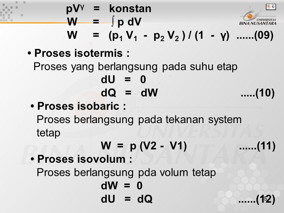 15 pV γ = konstan W = ∫ p dV W = (p 1 V 1 - p 2 V 2 ) / (1 - γ)......(09) Proses isotermis : Proses yang berlangsung pada suhu etap dU = 0 dQ = dW.....(10) Proses isobaric : Proses berlangsung pada tekanan system tetap W = p (V2 - V1)......(11) Proses isovolum : Proses berlangsung pda volum tetap dW = 0 dU = dQ......(12)