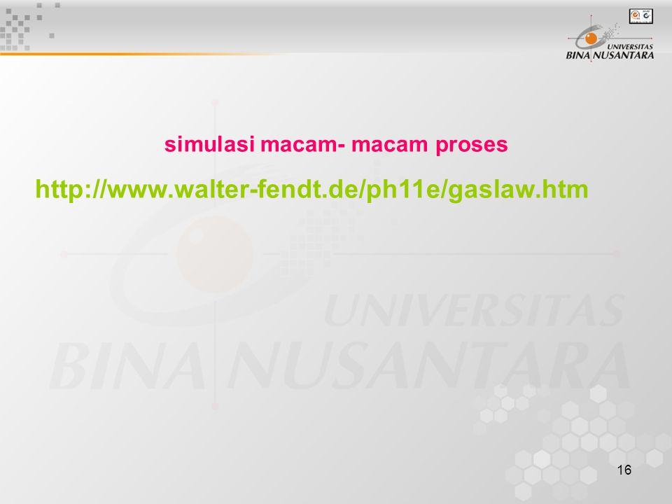 16 simulasi macam- macam proses http://www.walter-fendt.de/ph11e/gaslaw.htm