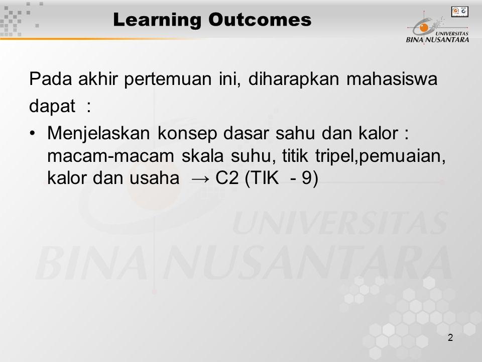2 Learning Outcomes Pada akhir pertemuan ini, diharapkan mahasiswa dapat : Menjelaskan konsep dasar sahu dan kalor : macam-macam skala suhu, titik tripel,pemuaian, kalor dan usaha → C2 (TIK - 9)