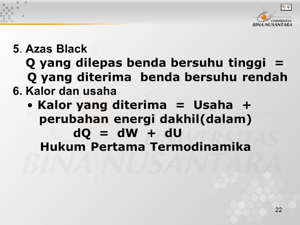 22 5. Azas Black Q yang dilepas benda bersuhu tinggi = Q yang diterima benda bersuhu rendah 6. Kalor dan usaha Kalor yang diterima = Usaha + perubahan