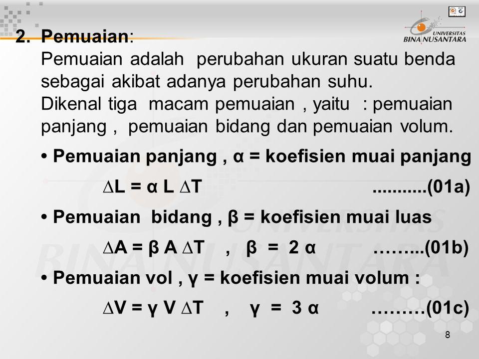 8 2.Pemuaian: Pemuaian adalah perubahan ukuran suatu benda sebagai akibat adanya perubahan suhu.