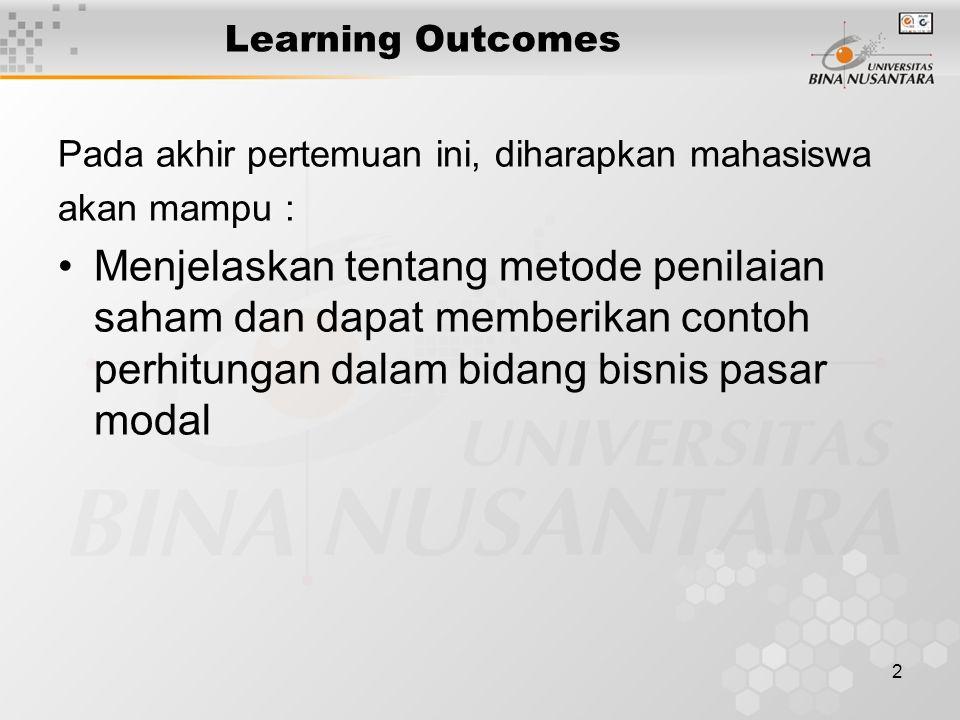 2 Learning Outcomes Pada akhir pertemuan ini, diharapkan mahasiswa akan mampu : Menjelaskan tentang metode penilaian saham dan dapat memberikan contoh