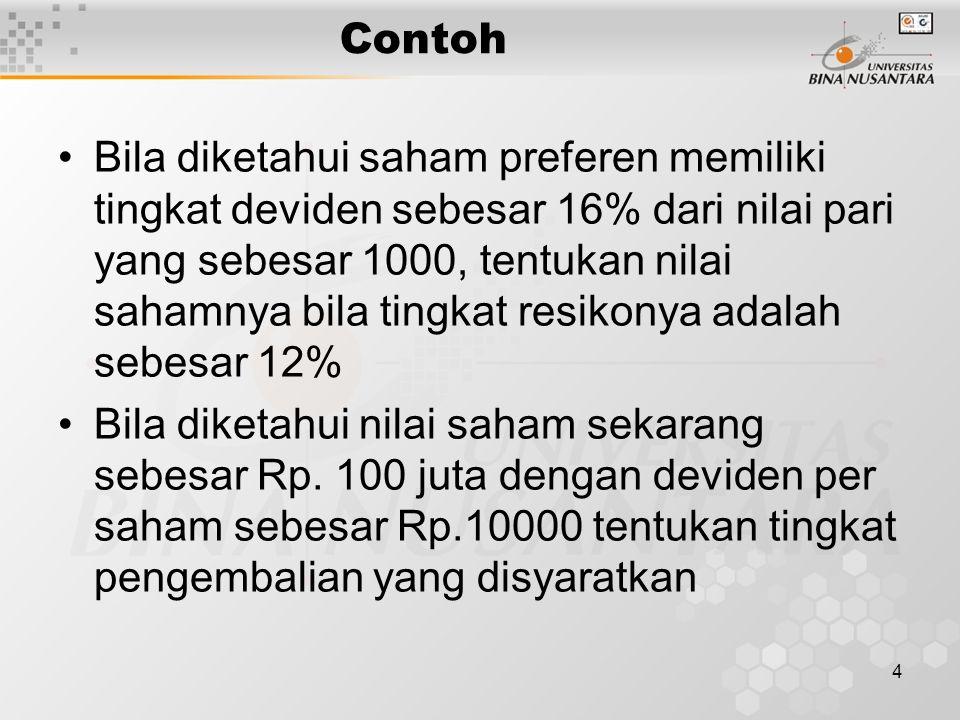 4 Contoh Bila diketahui saham preferen memiliki tingkat deviden sebesar 16% dari nilai pari yang sebesar 1000, tentukan nilai sahamnya bila tingkat re