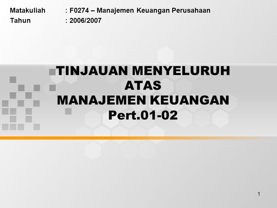 1 TINJAUAN MENYELURUH ATAS MANAJEMEN KEUANGAN Pert.01-02 Matakuliah: F0274 – Manajemen Keuangan Perusahaan Tahun: 2006/2007