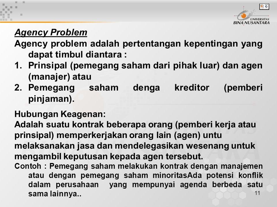 11 Agency Problem Agency problem adalah pertentangan kepentingan yang dapat timbul diantara : 1.Prinsipal (pemegang saham dari pihak luar) dan agen (m