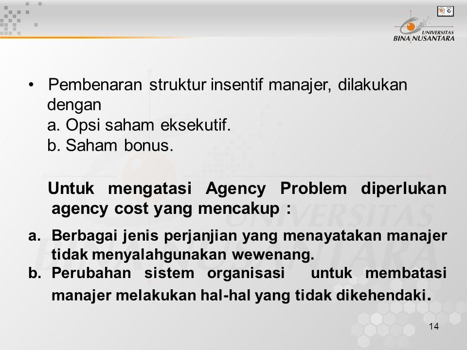 14 Pembenaran struktur insentif manajer, dilakukan dengan a. Opsi saham eksekutif. b. Saham bonus. Untuk mengatasi Agency Problem diperlukan agency co