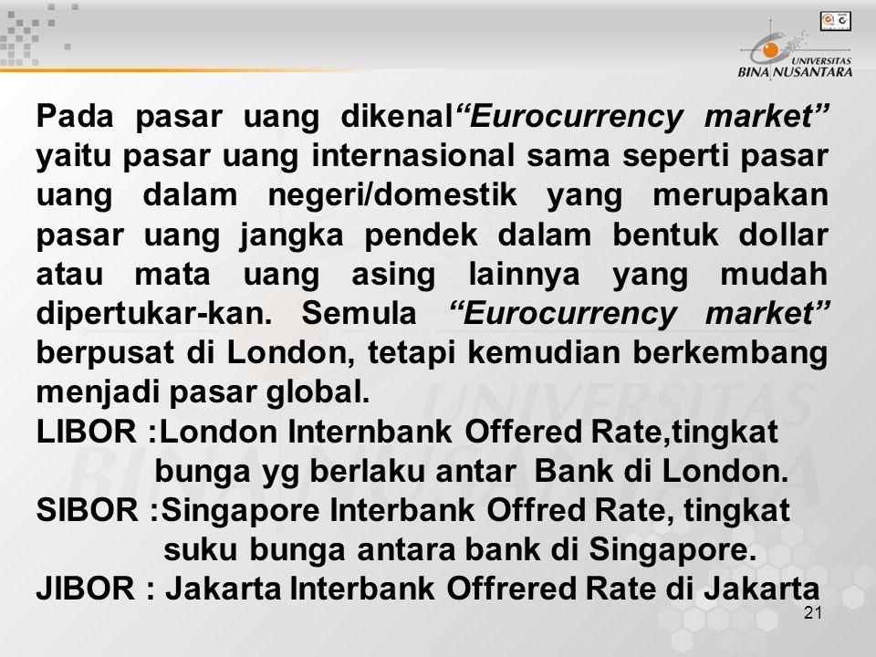 """21 Pada pasar uang dikenal""""Eurocurrency market"""" yaitu pasar uang internasional sama seperti pasar uang dalam negeri/domestik yang merupakan pasar uang"""