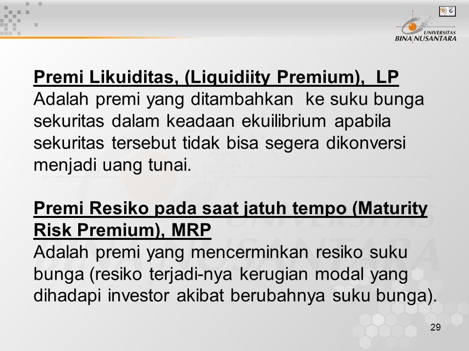 29 Premi Likuiditas, (Liquidiity Premium), LP Adalah premi yang ditambahkan ke suku bunga sekuritas dalam keadaan ekuilibrium apabila sekuritas terseb