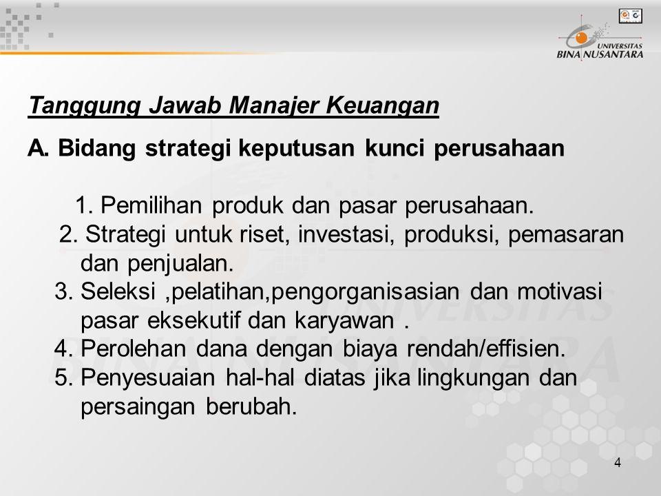 4 Tanggung Jawab Manajer Keuangan A. Bidang strategi keputusan kunci perusahaan 1. Pemilihan produk dan pasar perusahaan. 2. Strategi untuk riset, inv