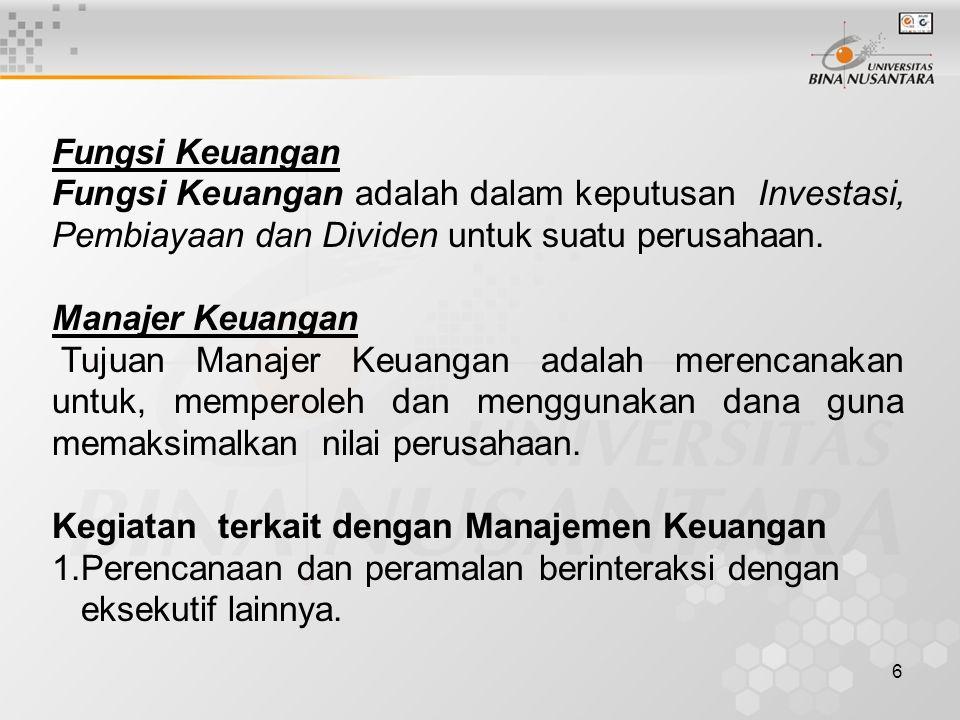 6 Fungsi Keuangan Fungsi Keuangan adalah dalam keputusan Investasi, Pembiayaan dan Dividen untuk suatu perusahaan. Manajer Keuangan Tujuan Manajer Keu
