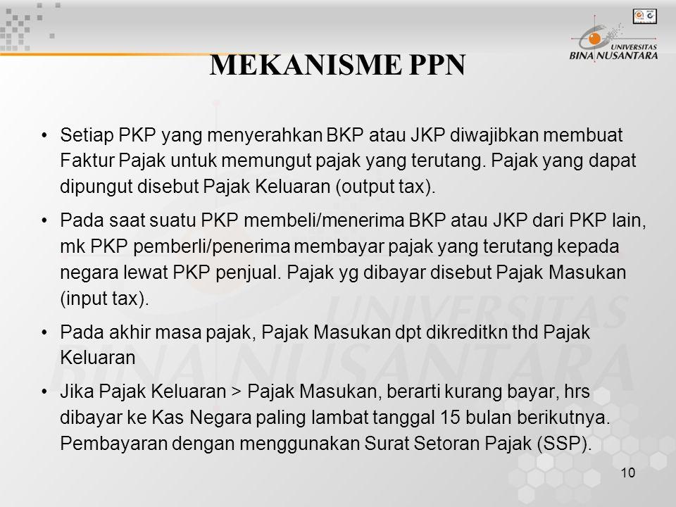 10 MEKANISME PPN Setiap PKP yang menyerahkan BKP atau JKP diwajibkan membuat Faktur Pajak untuk memungut pajak yang terutang. Pajak yang dapat dipungu