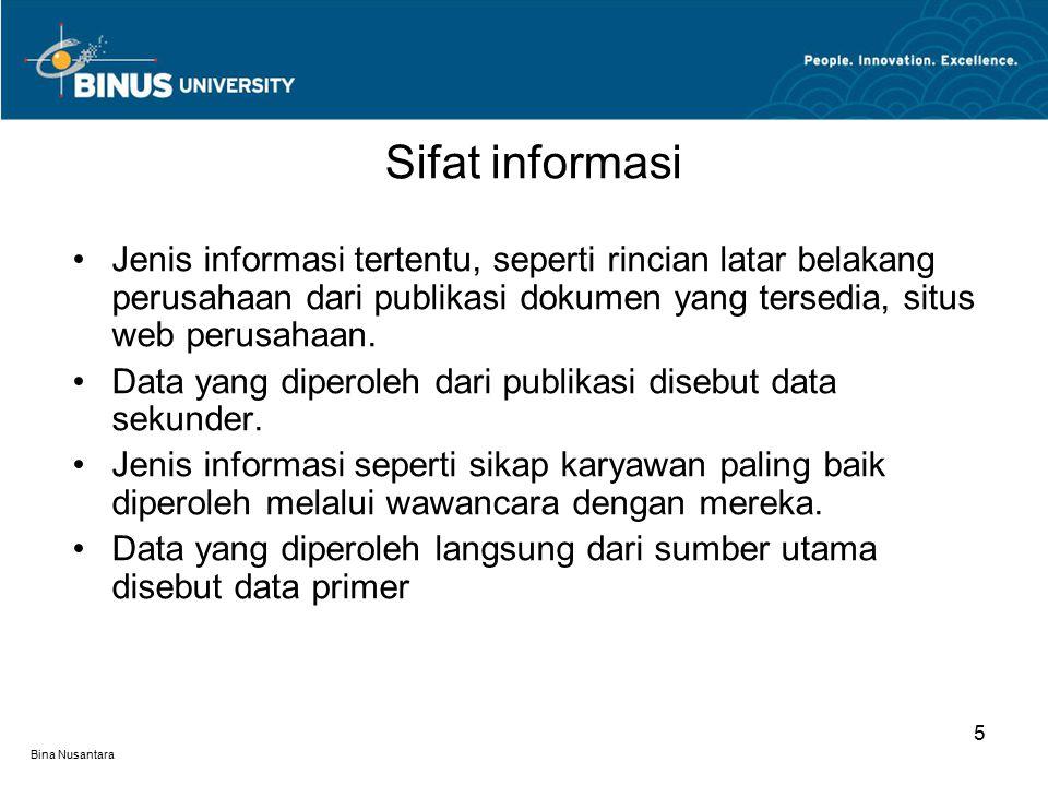 Bina Nusantara Jenis informasi tertentu, seperti rincian latar belakang perusahaan dari publikasi dokumen yang tersedia, situs web perusahaan.