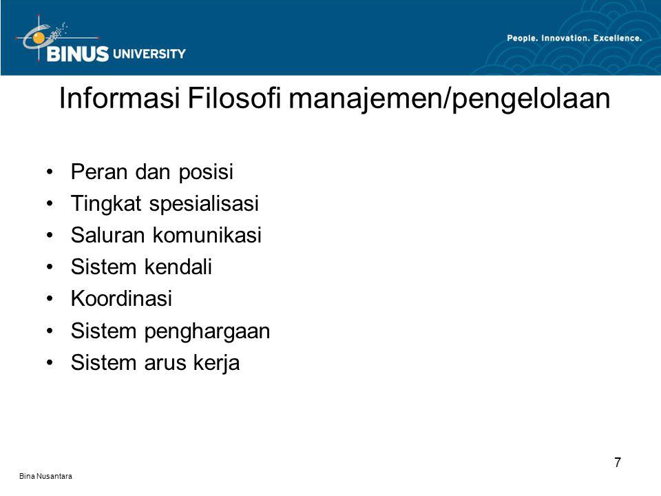 Bina Nusantara Sifat pekerjaan Saling ketergantungan Superioritas Partisipasi Sistem klien dan rekan kerja Keterlibatan Toleransi Persepsi, sikap dan respon perilaku 8