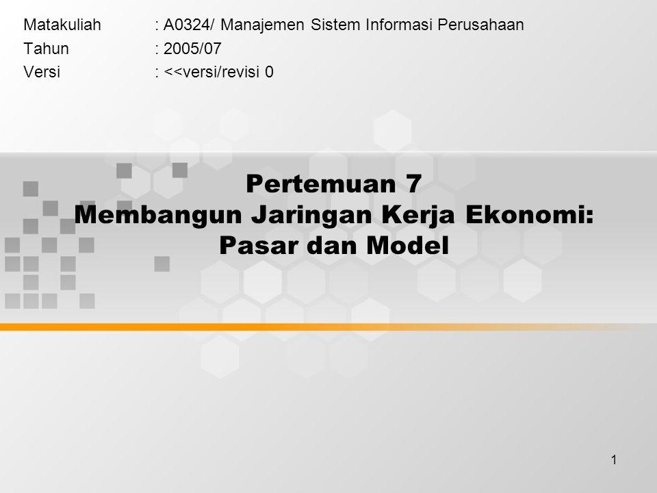 1 Pertemuan 7 Membangun Jaringan Kerja Ekonomi: Pasar dan Model Matakuliah: A0324/ Manajemen Sistem Informasi Perusahaan Tahun: 2005/07 Versi: <<versi/revisi 0