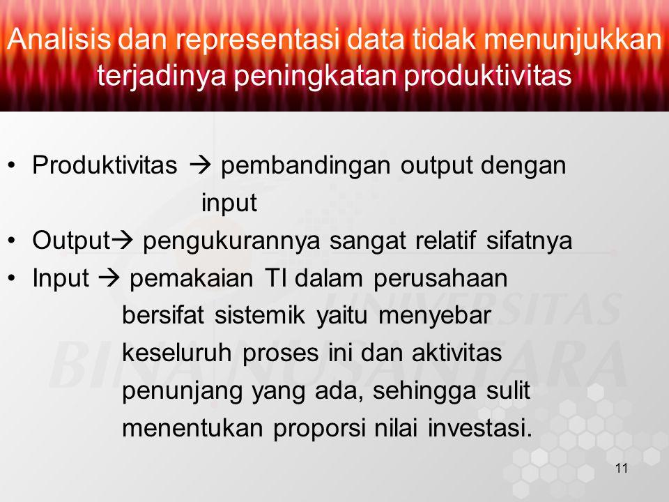 11 Analisis dan representasi data tidak menunjukkan terjadinya peningkatan produktivitas Produktivitas  pembandingan output dengan input Output  pengukurannya sangat relatif sifatnya Input  pemakaian TI dalam perusahaan bersifat sistemik yaitu menyebar keseluruh proses ini dan aktivitas penunjang yang ada, sehingga sulit menentukan proporsi nilai investasi.