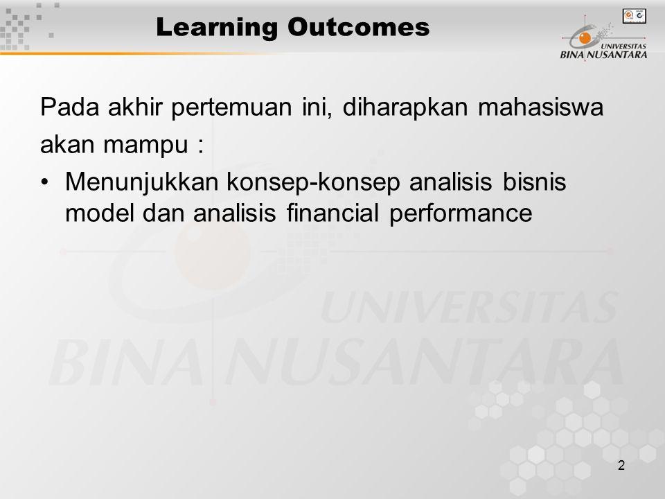 2 Learning Outcomes Pada akhir pertemuan ini, diharapkan mahasiswa akan mampu : Menunjukkan konsep-konsep analisis bisnis model dan analisis financial performance