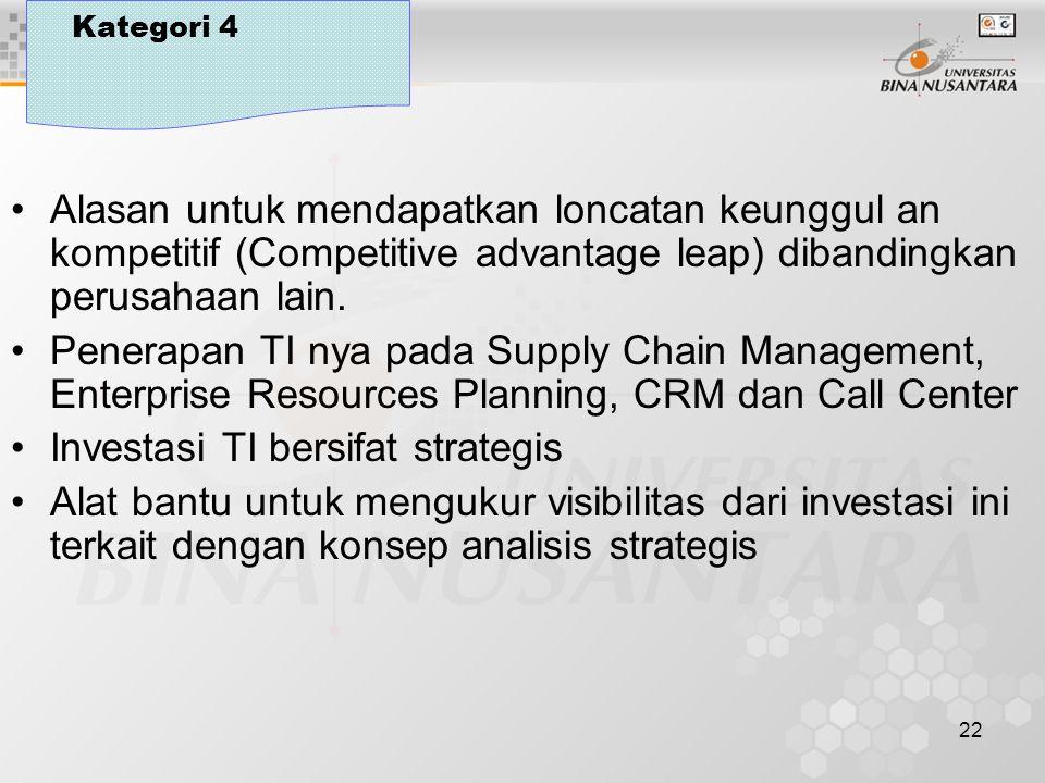 22 Kategori 4 Alasan untuk mendapatkan loncatan keunggul an kompetitif (Competitive advantage leap) dibandingkan perusahaan lain.