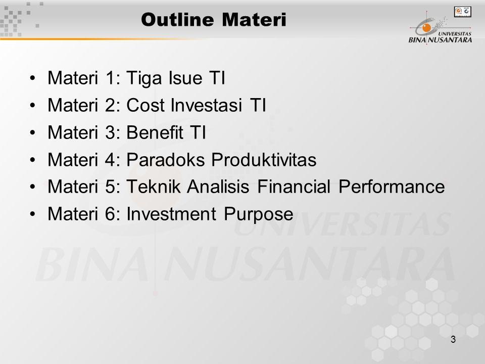 3 Outline Materi Materi 1: Tiga Isue TI Materi 2: Cost Investasi TI Materi 3: Benefit TI Materi 4: Paradoks Produktivitas Materi 5: Teknik Analisis Financial Performance Materi 6: Investment Purpose