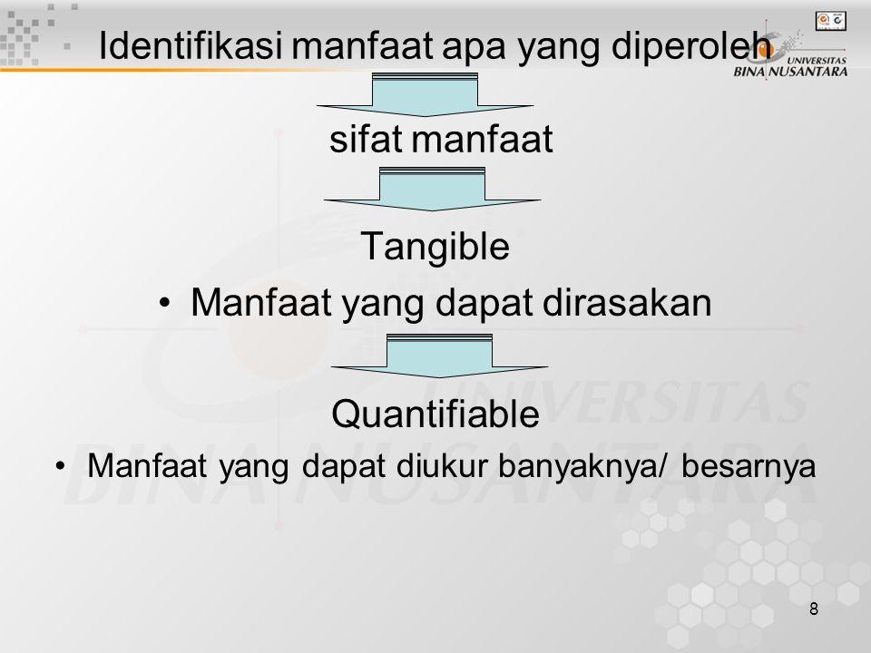 8 Identifikasi manfaat apa yang diperoleh sifat manfaat Tangible Manfaat yang dapat dirasakan Quantifiable Manfaat yang dapat diukur banyaknya/ besarnya