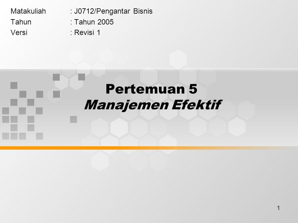 1 Pertemuan 5 Manajemen Efektif Matakuliah: J0712/Pengantar Bisnis Tahun: Tahun 2005 Versi: Revisi 1