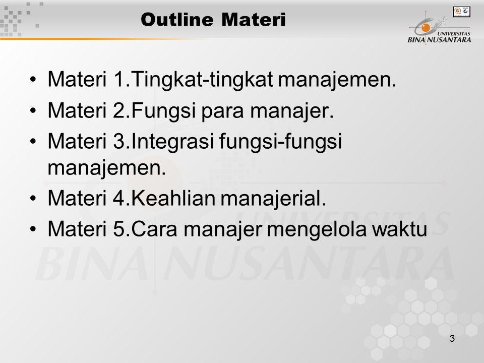 3 Outline Materi Materi 1.Tingkat-tingkat manajemen. Materi 2.Fungsi para manajer. Materi 3.Integrasi fungsi-fungsi manajemen. Materi 4.Keahlian manaj