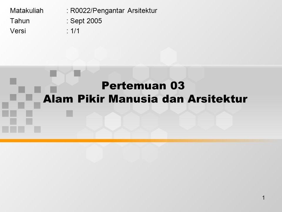 1 Pertemuan 03 Alam Pikir Manusia dan Arsitektur Matakuliah: R0022/Pengantar Arsitektur Tahun: Sept 2005 Versi: 1/1