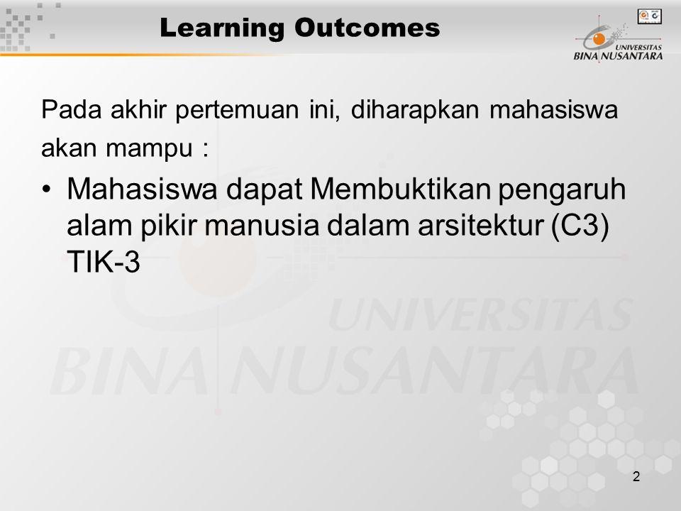 2 Learning Outcomes Pada akhir pertemuan ini, diharapkan mahasiswa akan mampu : Mahasiswa dapat Membuktikan pengaruh alam pikir manusia dalam arsitektur (C3) TIK-3
