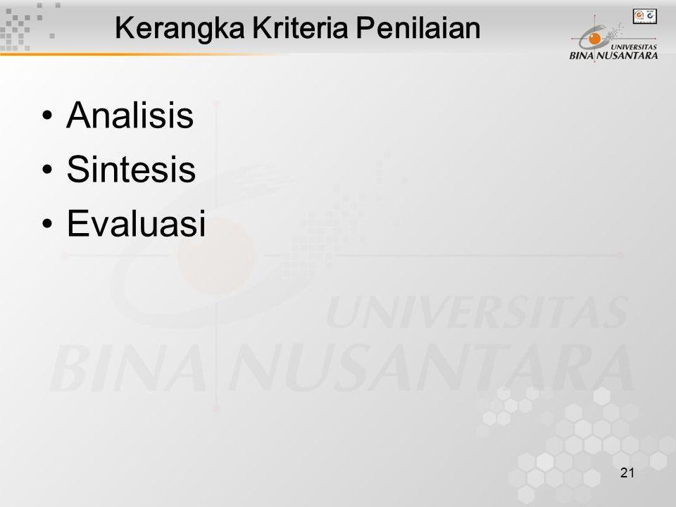 21 Kerangka Kriteria Penilaian Analisis Sintesis Evaluasi