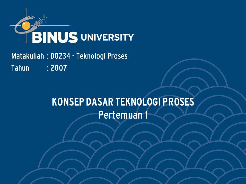 Bina Nusantara Learning Outcomes Outline Materi : Mahasiswa dapat mengidentifikasi dasar-dasar dan pengertian teknologi proses manufaktur dan sistem manufaktur.
