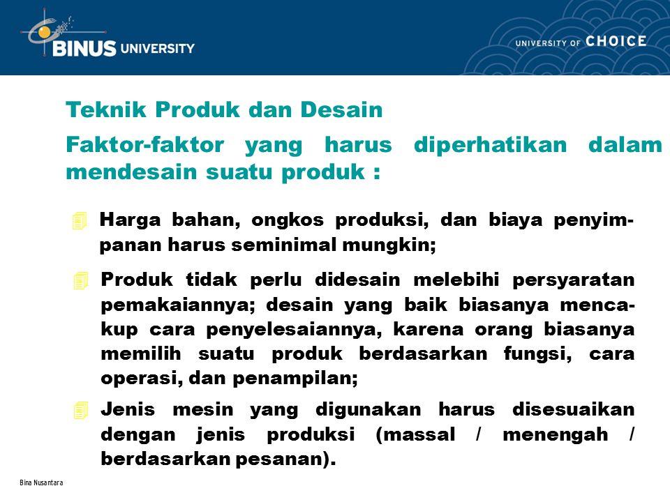 Bina Nusantara Teknik Produk dan Desain Faktor-faktor yang harus diperhatikan dalam mendesain suatu produk : 4Harga bahan, ongkos produksi, dan biaya