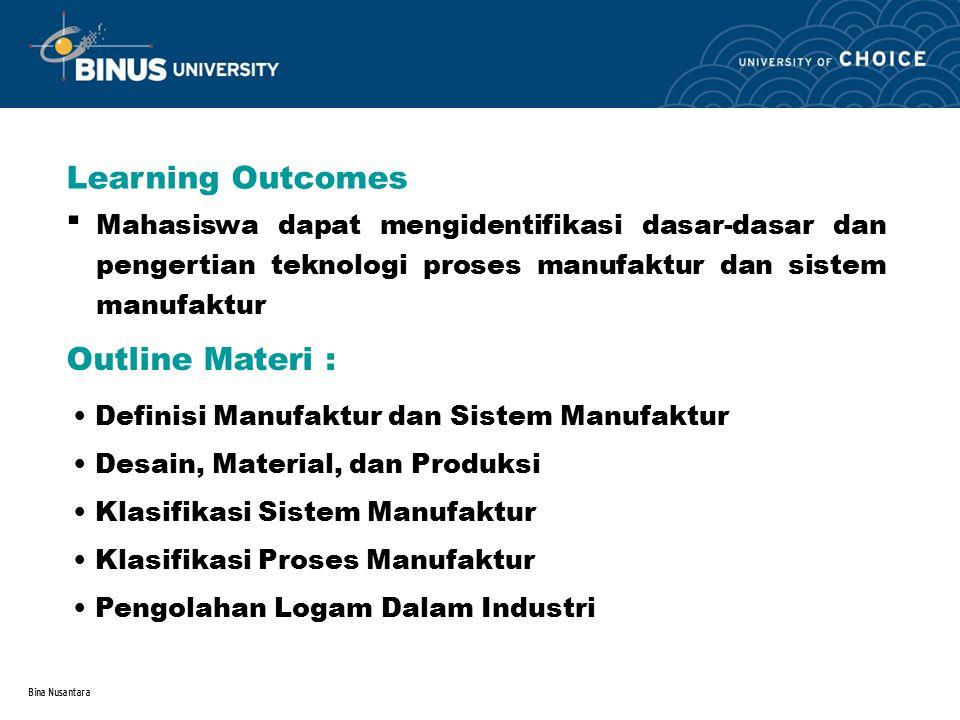 Bina Nusantara Learning Outcomes Outline Materi : Mahasiswa dapat mengidentifikasi dasar-dasar dan pengertian teknologi proses manufaktur dan sistem m
