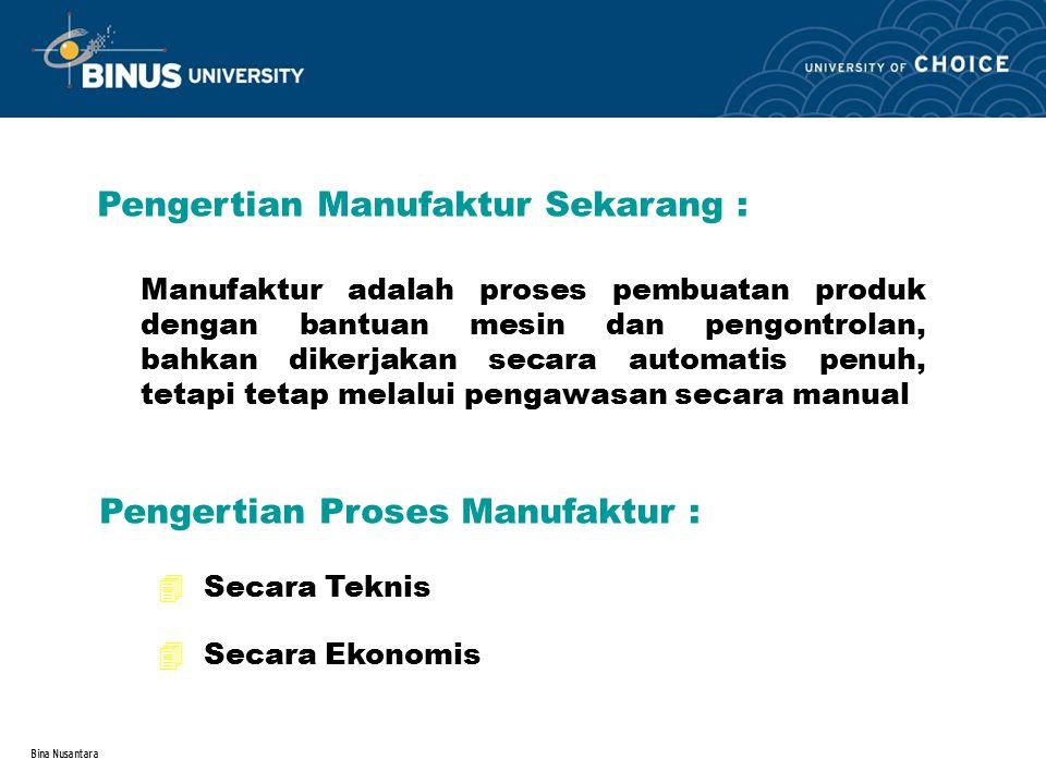 Bina Nusantara Pengertian Manufaktur Sekarang : Manufaktur adalah proses pembuatan produk dengan bantuan mesin dan pengontrolan, bahkan dikerjakan sec