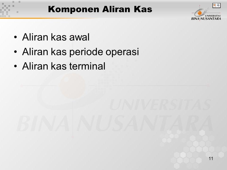 11 Komponen Aliran Kas Aliran kas awal Aliran kas periode operasi Aliran kas terminal