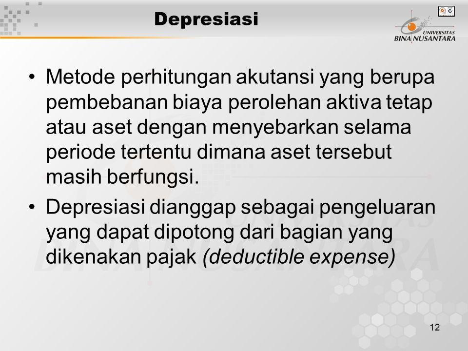 12 Depresiasi Metode perhitungan akutansi yang berupa pembebanan biaya perolehan aktiva tetap atau aset dengan menyebarkan selama periode tertentu dimana aset tersebut masih berfungsi.