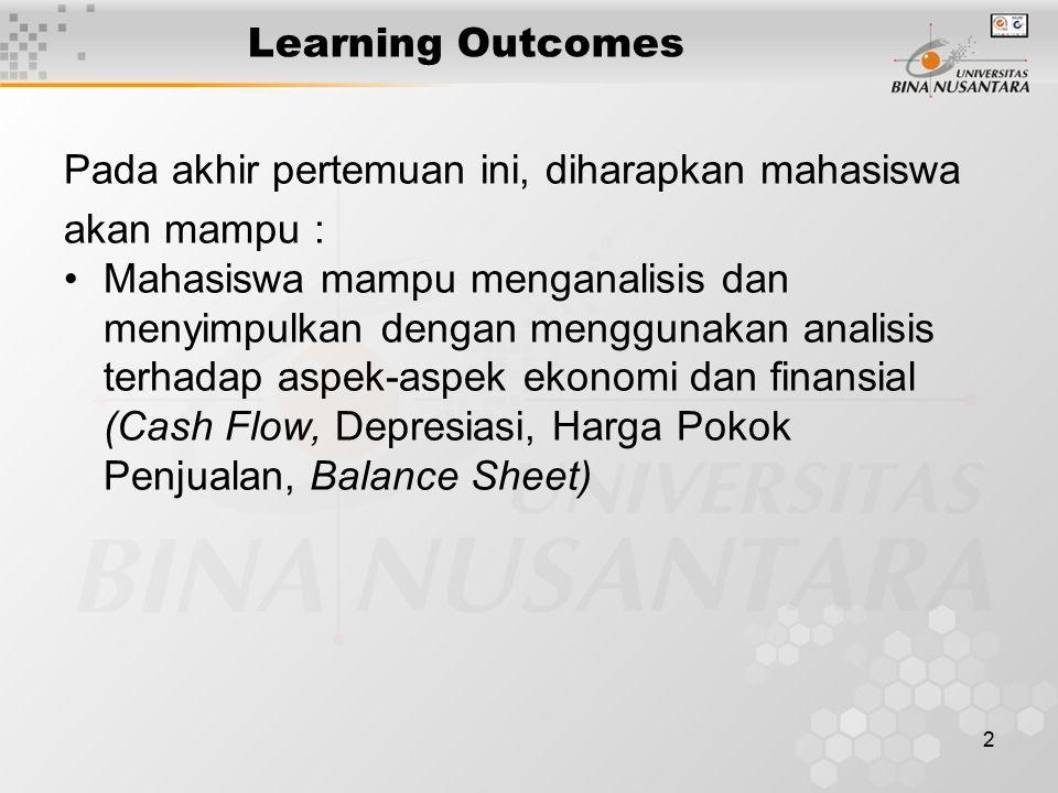 2 Learning Outcomes Pada akhir pertemuan ini, diharapkan mahasiswa akan mampu : Mahasiswa mampu menganalisis dan menyimpulkan dengan menggunakan analisis terhadap aspek-aspek ekonomi dan finansial (Cash Flow, Depresiasi, Harga Pokok Penjualan, Balance Sheet)