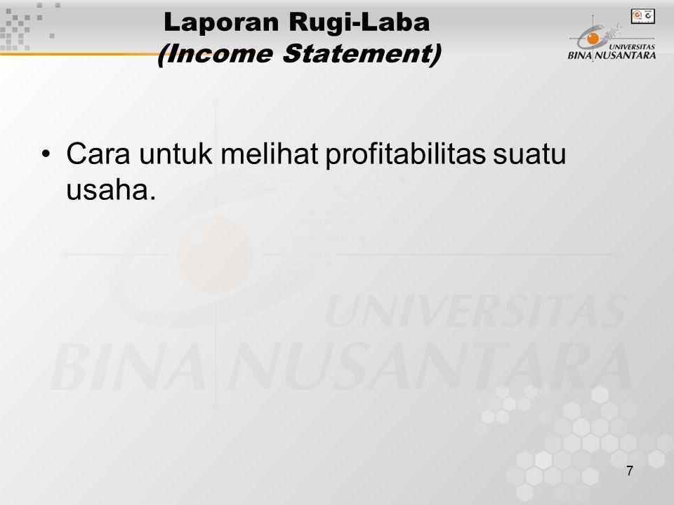 7 Laporan Rugi-Laba (Income Statement) Cara untuk melihat profitabilitas suatu usaha.