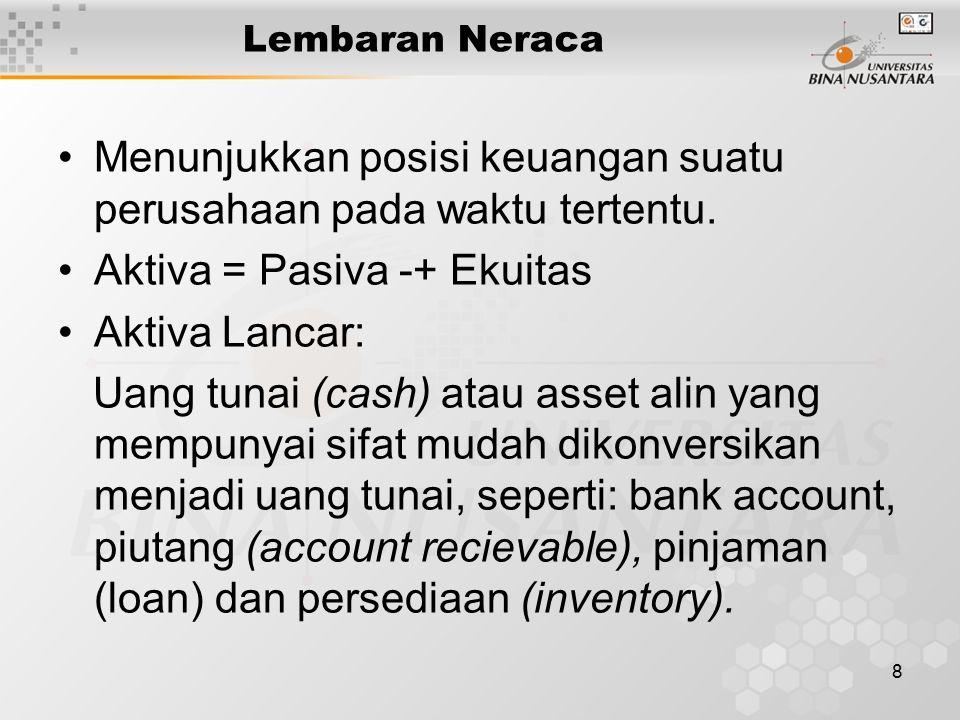 8 Lembaran Neraca Menunjukkan posisi keuangan suatu perusahaan pada waktu tertentu. Aktiva = Pasiva -+ Ekuitas Aktiva Lancar: Uang tunai (cash) atau a