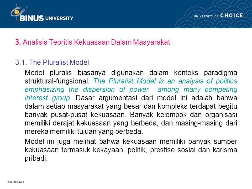 Bina Nusantara 3.Analisis Teoritis Kekuasaan Dalam Masyarakat 3.1.