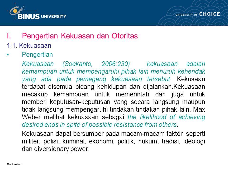 Bina Nusantara I.Pengertian Kekuasan dan Otoritas 1.1.