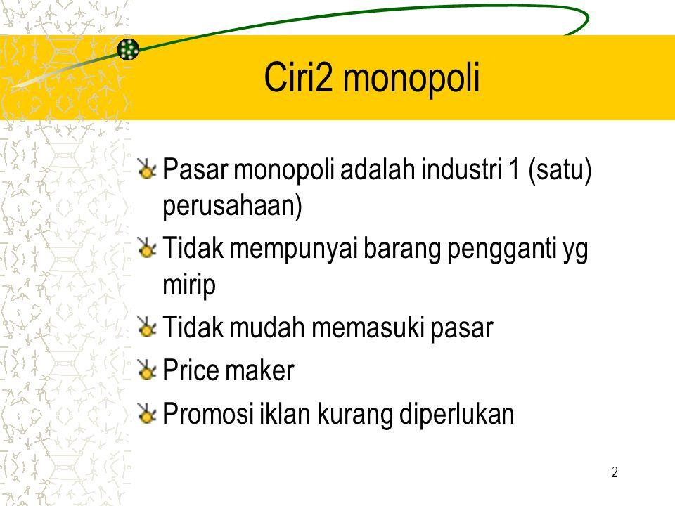 2 Ciri2 monopoli Pasar monopoli adalah industri 1 (satu) perusahaan) Tidak mempunyai barang pengganti yg mirip Tidak mudah memasuki pasar Price maker