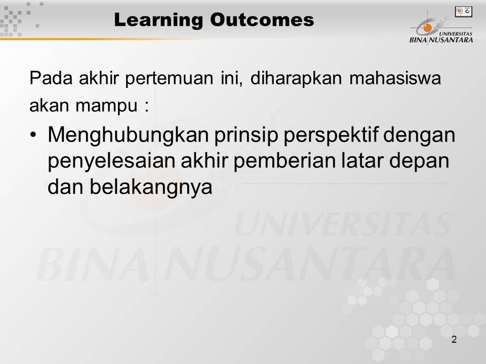 2 Learning Outcomes Pada akhir pertemuan ini, diharapkan mahasiswa akan mampu : Menghubungkan prinsip perspektif dengan penyelesaian akhir pemberian latar depan dan belakangnya