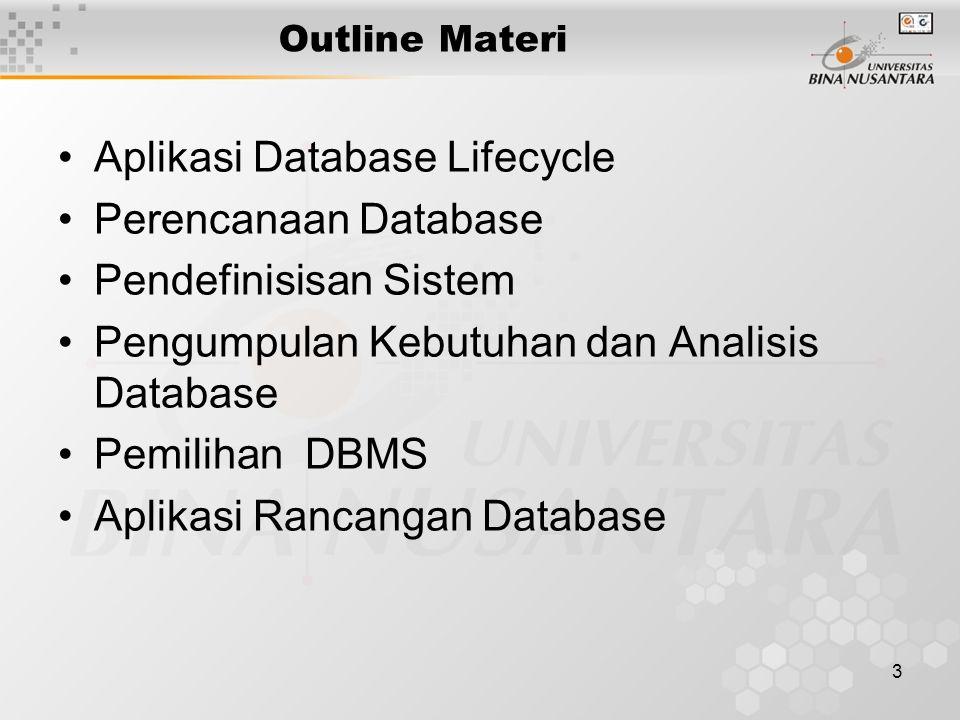 3 Outline Materi Aplikasi Database Lifecycle Perencanaan Database Pendefinisisan Sistem Pengumpulan Kebutuhan dan Analisis Database Pemilihan DBMS Aplikasi Rancangan Database