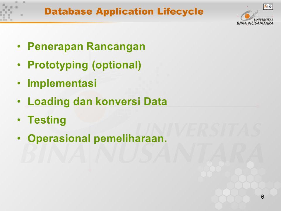6 Database Application Lifecycle Penerapan Rancangan Prototyping (optional) Implementasi Loading dan konversi Data Testing Operasional pemeliharaan.
