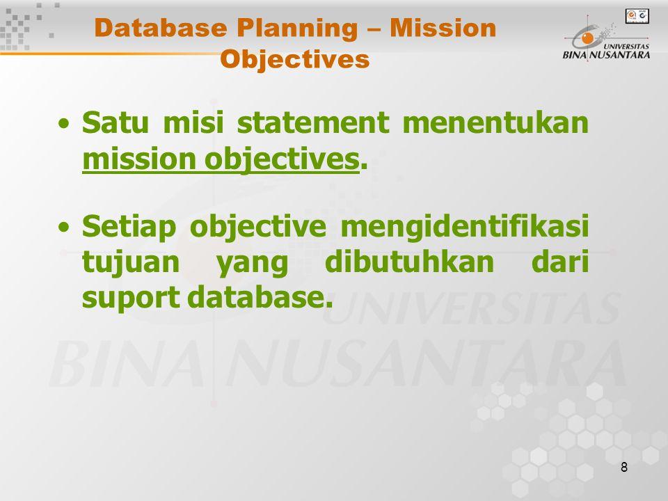 8 Database Planning – Mission Objectives Satu misi statement menentukan mission objectives. Setiap objective mengidentifikasi tujuan yang dibutuhkan d